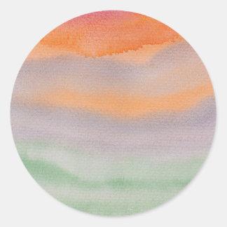 vattenfärgen målar etiketten för runt klistermärke