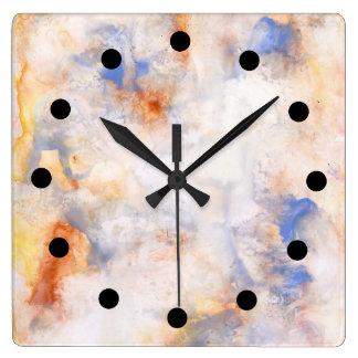Vattenfärgen på det löst tar tid på fyrkantig klocka