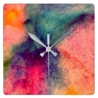 Vattenfärgen tar tid på fyrkantig klocka