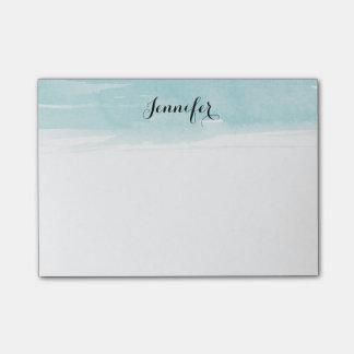 Vattenfärgen tvättar noterar, blått post-it block