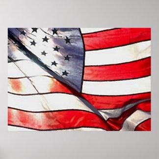 Vattenfärgen verkställer fotoamerikanska flagganka poster