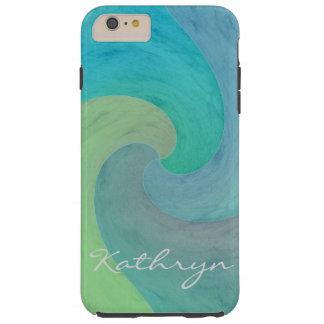 Vattenfärgen vinkar konst för turkosgröntpersonlig tough iPhone 6 plus skal