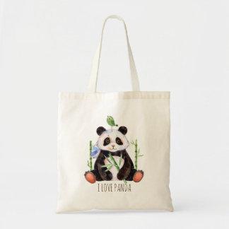 Vattenfärger för gullig Pandabjörn & för en fågel Tygkasse