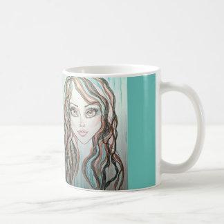 Vattenfärgfantasikvinna mugg för kaffe för ansikte