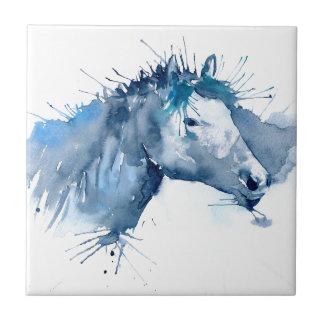 Vattenfärghästporträtt Liten Kakelplatta
