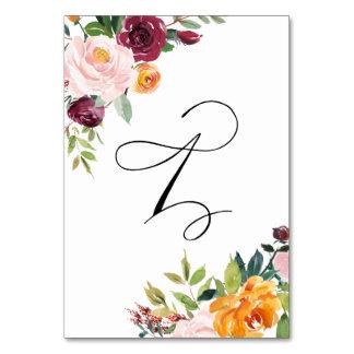 Vattenfärghösten blommar blom- bordsnummer 1