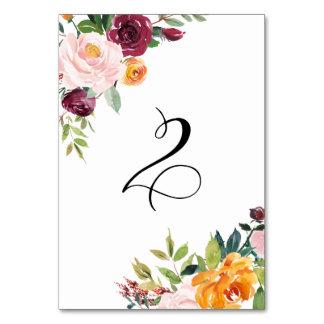 Vattenfärghösten blommar blom- bordsnummer 2