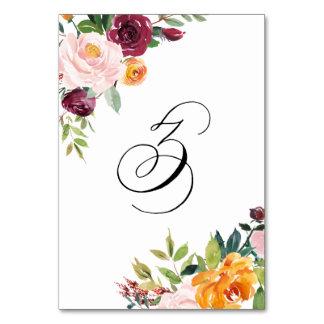 Vattenfärghösten blommar blom- bordsnummer 3
