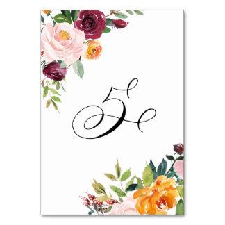 Vattenfärghösten blommar blom- bordsnummer 5