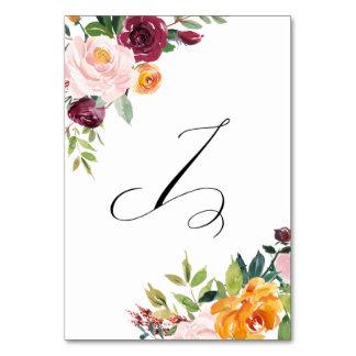Vattenfärghösten blommar blom- bordsnummer 7