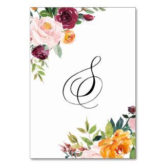 Vattenfärghösten blommar blom- bordsnummer 8
