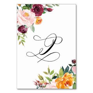 Vattenfärghösten blommar blom- bordsnummer 9