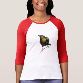 Vattenfärghummingbirdperch på en gren tee shirts