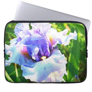 VattenfärgIris i lavendel och blått Laptop Sleeve