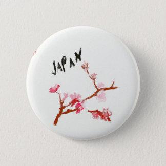 VattenfärgJapan körsbärsröd blommar Standard Knapp Rund 5.7 Cm