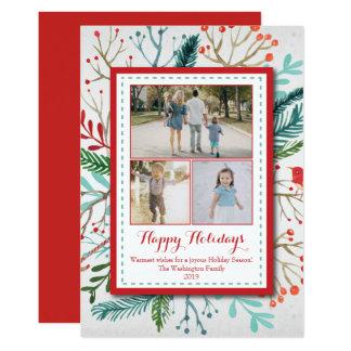 Vattenfärgjul semestrar (3) kortet för foto tre 12,7 x 17,8 cm inbjudningskort