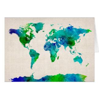 Vattenfärgkarta av världskartan hälsningskort