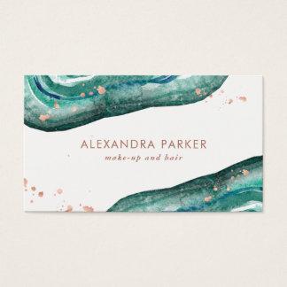 Vattenfärgkricka och Faux rosa guld- Geode Visitkort