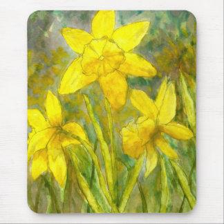Vattenfärgmålning, gula blommorkonst, påskliljar musmatta