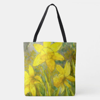 Vattenfärgmålning, gula blommorkonst, påskliljar tygkasse