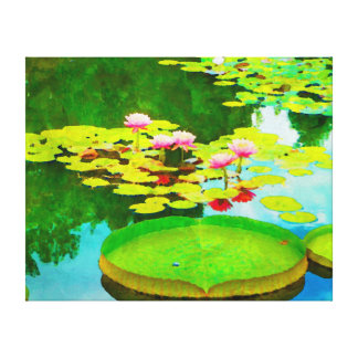 Watercolor waterlily reflections