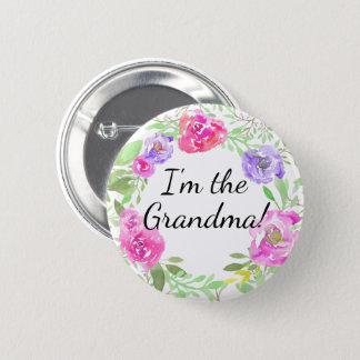Vattenfärgpionbaby shower mig förmiddagmormornamn standard knapp rund 5.7 cm