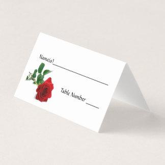 Vattenfärgröd ros - eskortkort placeringskort