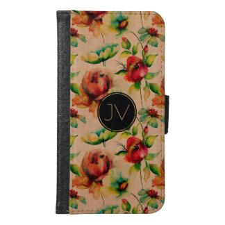 Vattenfärgröd ros på blond Wood struktur Samsung Galaxy S6 Plånboksfodral