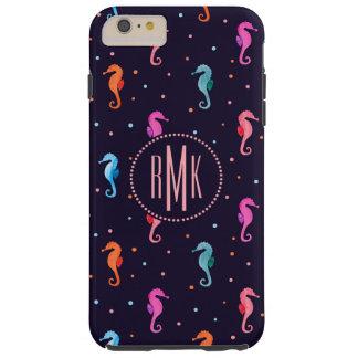 VattenfärgSeahorses på marinblått mönster Tough iPhone 6 Plus Skal