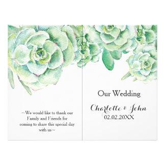 vattenfärgsuckulentbröllopsprogram reklamblad 21,5 x 30 cm