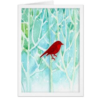 Vattenfärgträd med det röda fågelhelgdagkortet hälsningskort