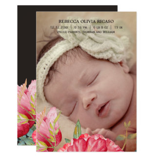 Vattenfärgvallmon blommar nyfödd bebispersonlig 12,7 x 17,8 cm inbjudningskort
