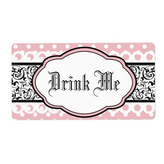 Vattenflaskaetikett - rosa och svart elegant fraktsedel
