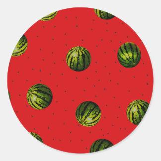 vattenmelnar och frö runt klistermärke