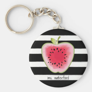 Vattenmelon Apple StripesTeacher Rund Nyckelring
