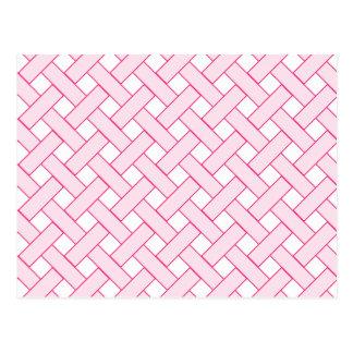 Vävd/Gnäggande-look mönster: Rosor och vit Vykort