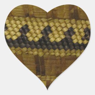 Vävd konst för fiber för NW-kusten indisk Hjärtformat Klistermärke
