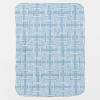 Vävd samman babyfilt - kvadrerar i blått