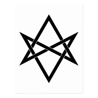 Vävd samman unicursal hexagram vykort