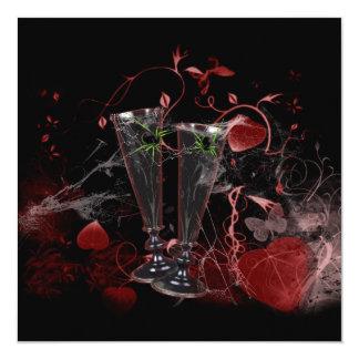 Vävt i gotisk spindelbröllopsinbjudningar för fyrkantigt 13,3 cm inbjudningskort