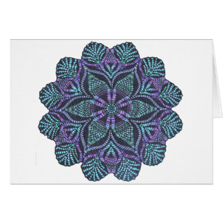 Vävt mönster för blått blomma hälsningskort