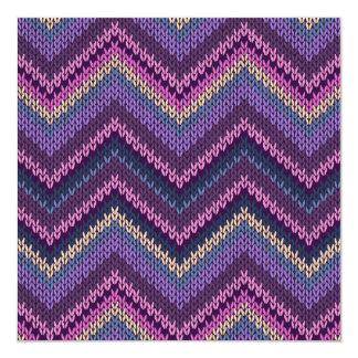Vävt purpurfärgat sparremönster fyrkantigt 13,3 cm inbjudningskort