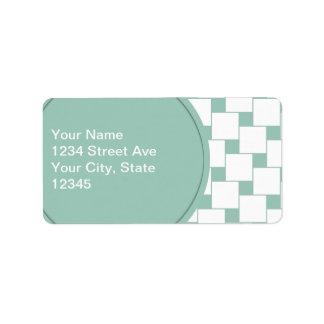 Vävt roligt kvadrerar Mintgrönt Adressetikett
