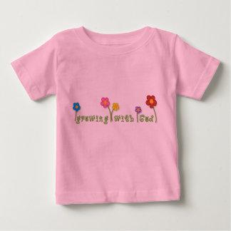 Växa med den kristna bebisutslagsplatsen för gud tee shirt