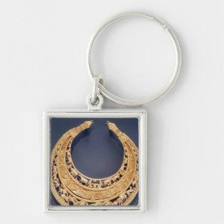 Växande formad bröstfena från Tolstaya Mogila Fyrkantig Silverfärgad Nyckelring