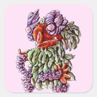 Växt för buske för fjäril för grönt för fyrkantigt klistermärke