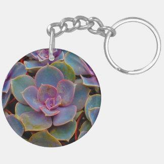 Växt för kaktus för lilablåttgrönt suckulent dubbelsidigt rund akryl nyckelring