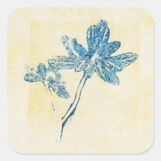 Växten för det Monoprint blåttlöv kvadrerar Fyrkantigt Klistermärke