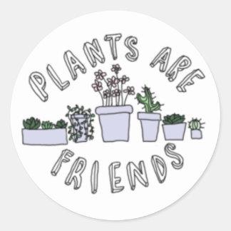 Växter är vänner runt klistermärke