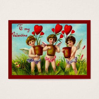 Växter för hjärta för vintagevalentinCupids Visitkort